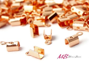 144 Copper Plated End Crimp Connector, Tiny Cord Tips, Fold Over Flat Crimp Connector, Ribbon Conectors 4.5mm