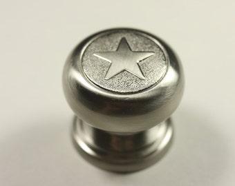 Western Style Heavy Star Knob - Satin Nickel