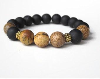 Mens healing bracelet, mens protection bracelet, Gift for him, guys bracelet, black bracelet, jasper bracelet, mens gift idea