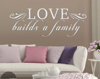 Love Builds A Family Vinyl Wall Decal Sticker