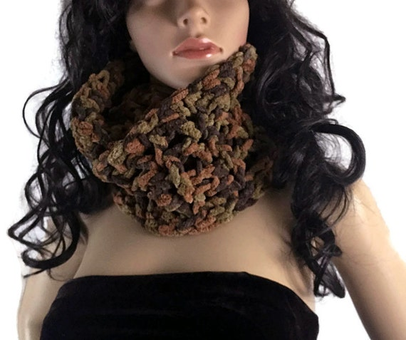 Unisex Chunky Soft Brown Outlander Cowl Circle Scarf - Gift Under 50 - Vegan Suede - Winter accessories Crochet Knit FREE SHIPPING CS12