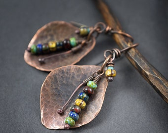 rustic copper earrings • autumn leaves • multicolored glass beads • ethnic earrings • handforged copper leaves • oxidized • raw copper