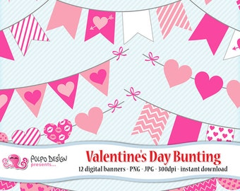 Valentine's day bunting banners clipart. Digital clip art. Commercial & personal Use. Instant Download. Pink garlands, love hearts kiss lips