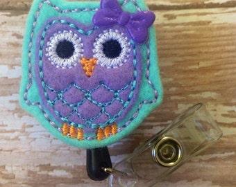 Owl retractable badge reel, Owl felt badge reel, Owl retractable badge reel, Owl id badge reel, Owl badge reel, christmas gift, pink owl