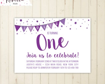 first birthday girl invitation purple invitation lavender invitation purple girl birthday invitation confetti invitation 2nd 3rd 4th invite