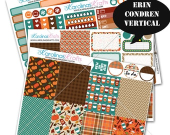 Fall Stickers, Fall Planner Kit 200+ Autumn Planner Stickers, for Erin Condren Sticker, October Planner Stickers #SQ00109-ECV