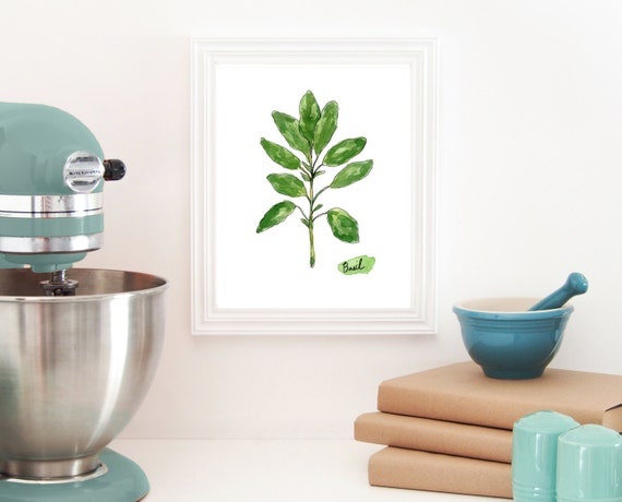 Https Www Etsy Com Listing 200186458 Basil Print Herb Art Kitchen Art Cooking