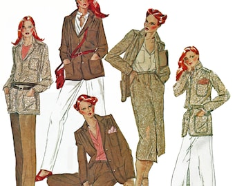 Safari Jacket Pattern Jacket Skirt and Pants Vintage 1970s Sewing Pattern McCalls 6441 Size 10 UNCUT