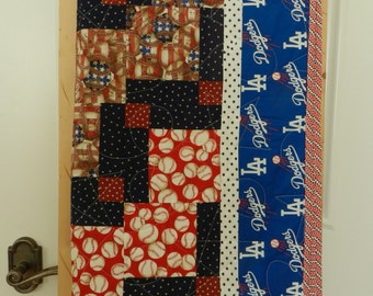 Baseball Quilt,MLB, baby quilt, Americana Quilt, Red, White and Blue Quilt