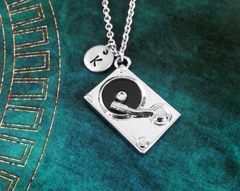 Turntable Necklace Vinyl Record Necklace Music Jewelry DJ Necklace DJ Gift Hip Hop Necklace Music Necklace Hip Hop Jewelry Initial Charm