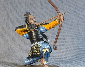 Miniature Toy Soldiers Bowman Ashigaru 1/32 Scale Medieval Japan Hand Painted 54mm Tin Metal Statue Antique Figurines