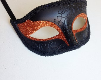 Masquerade Mask, Simple Mask, Venetian Mask, Party Masks, Face Masks, Party Mask In Orange for Halloween