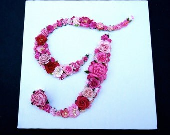 Custom Floral Letter Monogram on Canvas  - Paper Flower Initial in Your Choice of Colors on Canvas