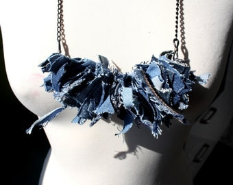 Recycled Jeans Necklace / Textile jewelry / Upcycled Denim Unique Necklace / Boho Jeans Necklace / Blue Jeans Necklace