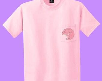 Soft Grunge Pastel Goth Donut Print Pocket T-Shirt in Pink, Adult Unisex Sizes S-XL