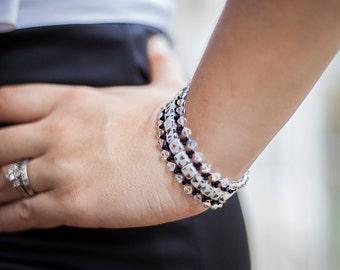 White Black Swarovski Bracelet