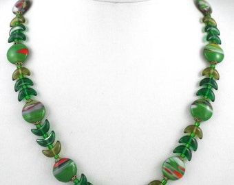 1940s Superb Vintage Venetian / Murano Art Glass Marbled Beads Necklace - Italy