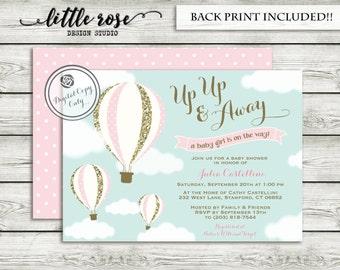 Hot Air Balloon Baby Shower Invitation   Up Up U0026 Away Baby Shower Invite    Unisex