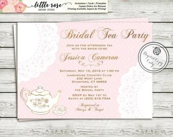 Tea Party Bridal Shower Invitation - High Tea Invitation - Tea Party Invite - Bridal Luncheon - Printable Invitation - Digital File - LR1002