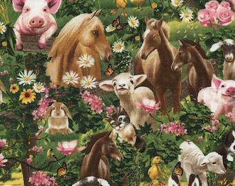 Farm Animal Fabric, Timeless Treasures Michael C3968, Michael Searle, Farm Quilt Fabric, Pigs, Lamb, Horse, Bunny, Donkey, Goat, Dog, Cotton