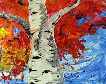 Birch Fall Leaves No. 2 An Original Tree Painting