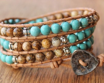 Light brown & turquoise beaded triple wrap bracelet