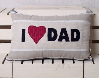 I love Dad, I heart Dad, cushion, pillow, 18 x 12 Inch