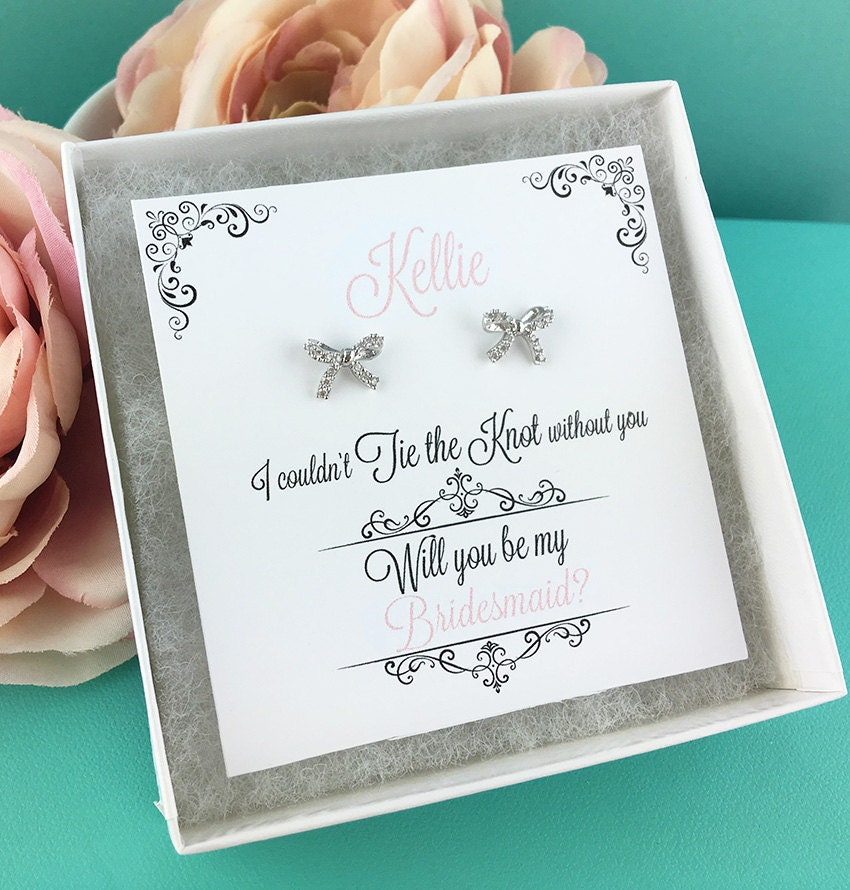 Wedding Gift Calculator The Knot : Tie The Knot Earrings, Will You Be My Bridesmaid Gift, Bridesmaid ...