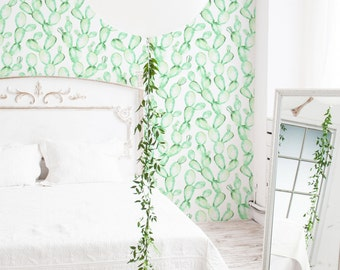 Watercolour Cactus Removable Wallpaper / Traditional or Self Adhesive Wallpaper/ Mint Cactus Wall Mural L220-4