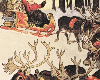 Santa on Reindeer sleigh bringing presents Christmas xmas vintage print illustration by George Morbrow snow winter 8.5x11.5 inches