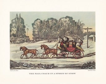 Carriage driving Mail Coach in snow storm british travel horse drawn winter scene vintage print illustration home office décor 9.5 x 7 in