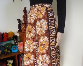 Vintage 60s barkcloth skirt - authentic material - tiki Hawaiaan pattern