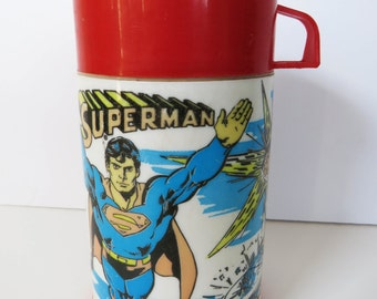 Aladdin 1970s Superman thermos - DC comics superhero