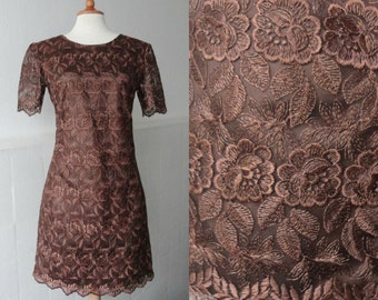 Lovely 70s Vintage Lace Dress // Brown // Size M