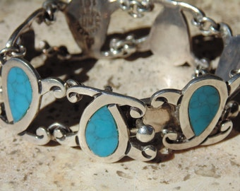 Melesio Rodriguez ~ Vintage Sterling Silver Blue Teardrop Link Bracelet
