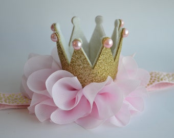 Pink and Gold Baby Crown Headband - Gold Glitter Baby Crown - Princess Crown - First Birthday Crown - Pink Toddler Crown - Photo Prop Crown