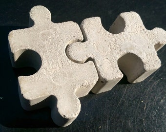 Industrial Concrete Jigsaw Pieces Fridge Magnets Gift Set - Super Strong - Set of Two Interlocking Concrete Jigsaw Pieces