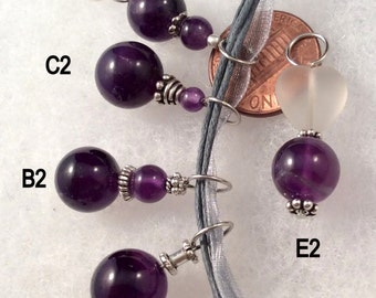 Small Amethyst Pendant.  25 to choose from! Silver. Also Carved Fluorite, Labradorite, Moonstone.