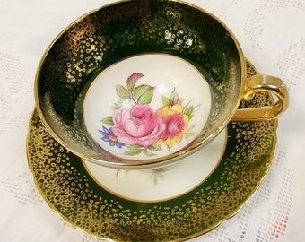 Rare Antique Stanley tea cup- green and gold - antique teacup - green tea cup -  floral teacup -