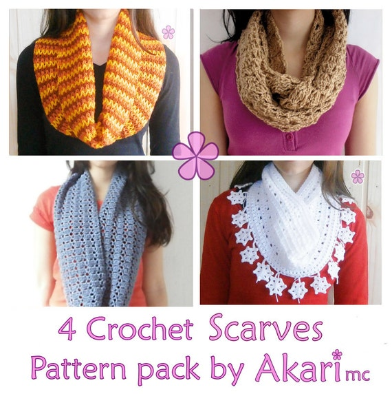 Crochet Pattern For Lacy Infinity Scarf : 1 pattern FREE. 4 Crochet Circle Scarves Patterns. 2 lacy