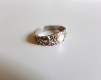 Heart Ring, Silver Band, Ancient Ring, Valentine Ring, Love Token, Engagement Ring, Romantic Wedding Band, I Love You, Renaissance