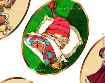 Christmas Images Digital Collage Sheet  30x40 mm oval for Scrapbooking Pendants Printable Original  4x6 inch sheet 328
