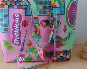 Beach tote bag, candy crush bag, canvas bag, canvas tote, pink tote bag, kawaii bag, kawaii tote bag, sweet tote bag, candy crush saga