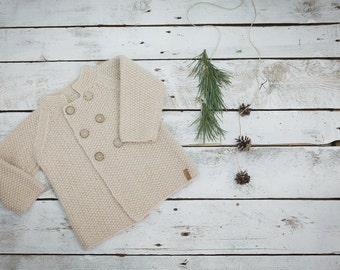 Beige baby coat / Hand knitted wool sweater / Baby / Kids / Children Cardigan / Duffle Coat / toddler sweater
