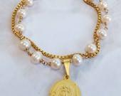 Bracelet - Holy Face Freshwater Pearl Bracelet - 18K Gold Vermeil