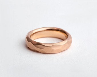 Raw Ring Rose Gold Wedding Band, Geometric Ring Man, Unique Wedding Ring, 18k Rose Gold Rustic Ring, Man Raw Ring Faceted 18K