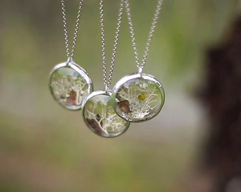 Glass jewelry lichen pendants small round LENS pendants stained glass necklaces stainless steel handmade moss jewelry