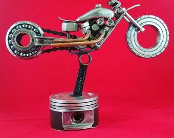 Custom made scrap metal art harley Davidson drag bike metal art sculpture