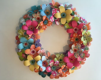 Wreath of Hand cut Paper Flowers - Great for Spring!