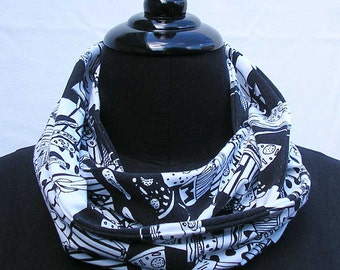 Black and white Infinity scarf, fast food scarf, take out scarf, cotton jersey scarf, cotton cowl, black and white scarf, take away scarf
